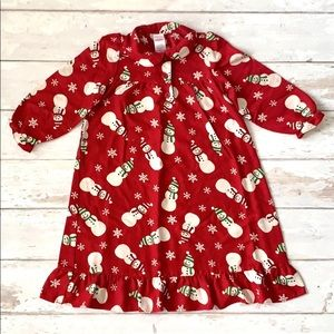 Girls 3T 4T Red Snowman Christmas Nightgown